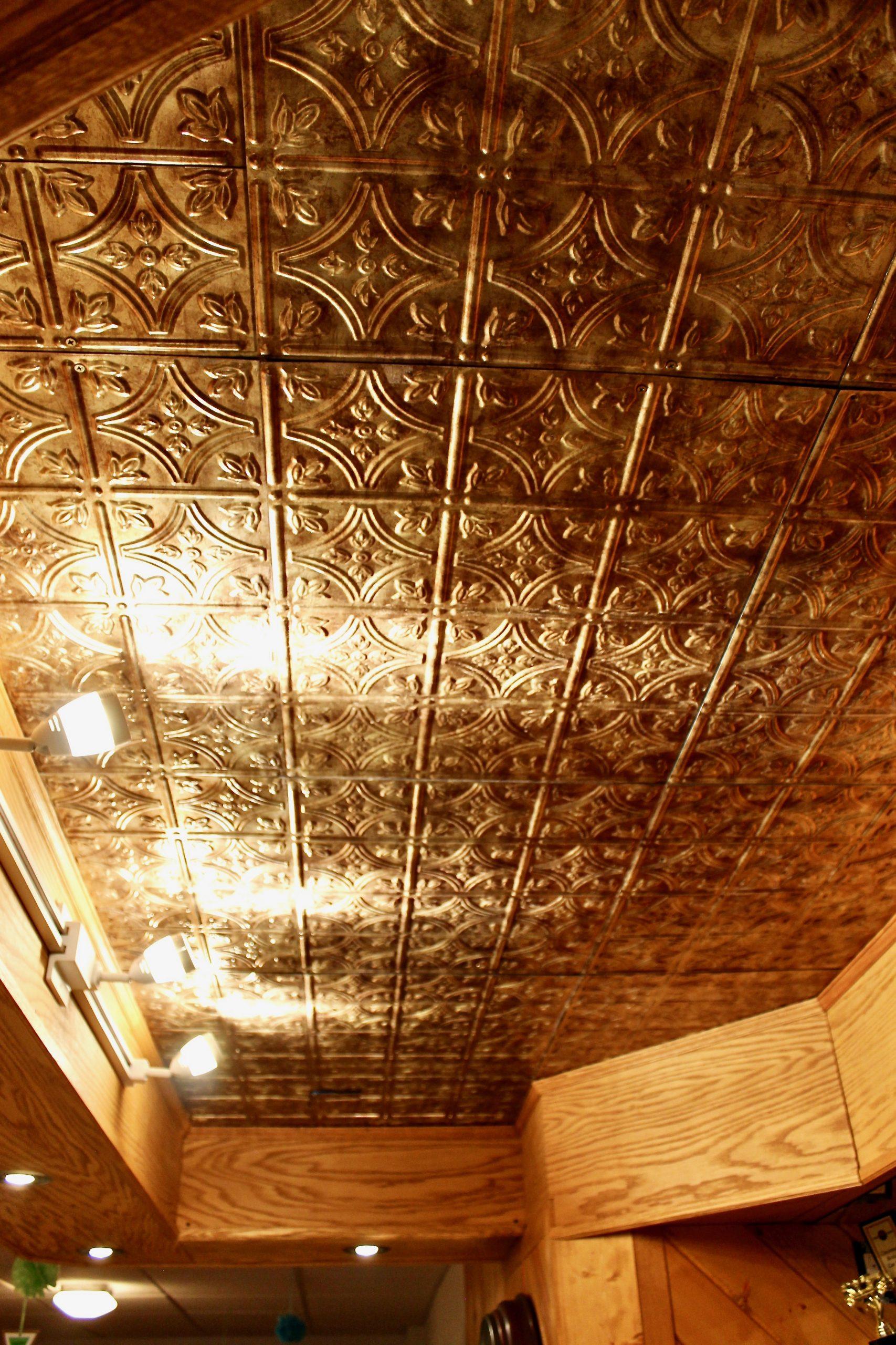 Basement Bar After gold ceiling
